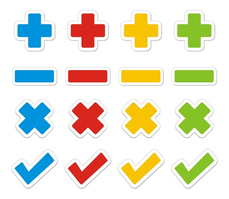 plus, minus, check, cross sticker sets Vector