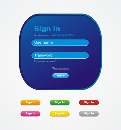 blue sign in website form Vector