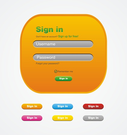 orange sign in web form Vector