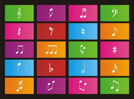 music note metro style icons Stock Vector - 21717861