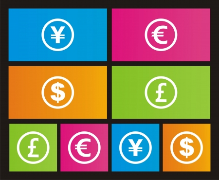 currency icons - metro style Vector