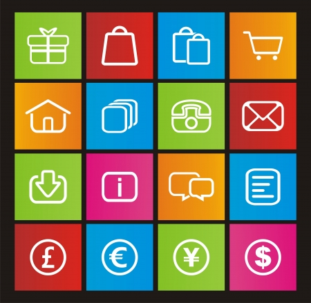 windows 8: ecommerce icons - metro style