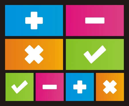 windows 8: plus, minus, check, cross metro style icons Illustration