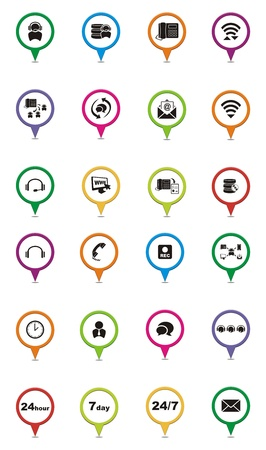 outbound: colorful call center pointers Illustration