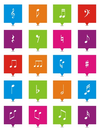 music note square pointers Stock Vector - 21929465
