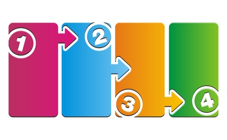 boîtes de pas de numéro coloré