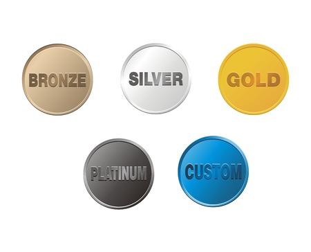 brons, zilver, goud, platina, aangepaste munten