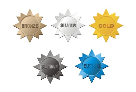 gold silver bronze: set of medal badge