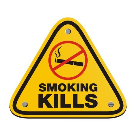 smoking kills: smoking kills - yellow sign