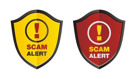 web scam: scam alert shield Illustration