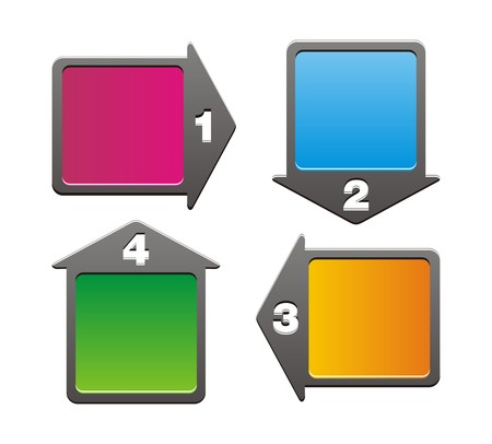 4 arrow - step boxes Vector