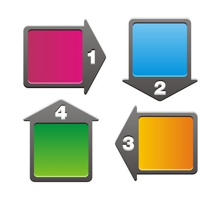 4 arrow - step boxes Ilustração
