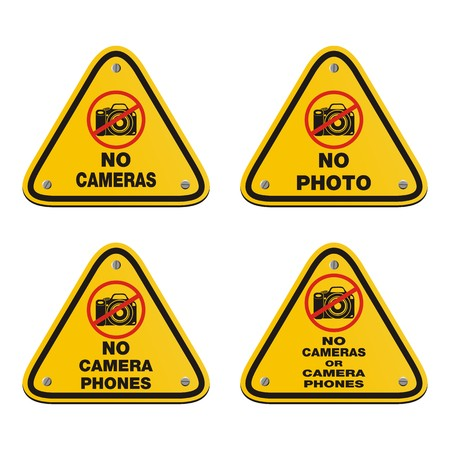 cell phones not allowed: no photo, no cameras signs Illustration