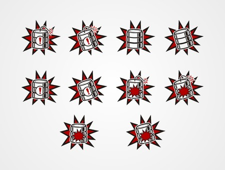 data base crash icons - explosion icons Vector