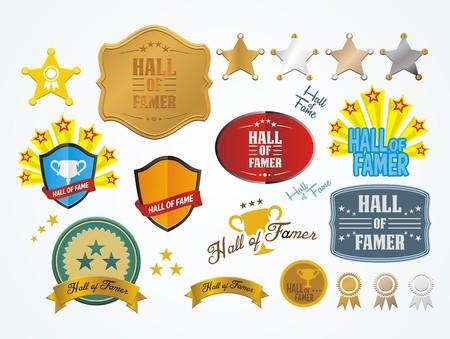 Salón de la fama tarjetas Ilustración de vector