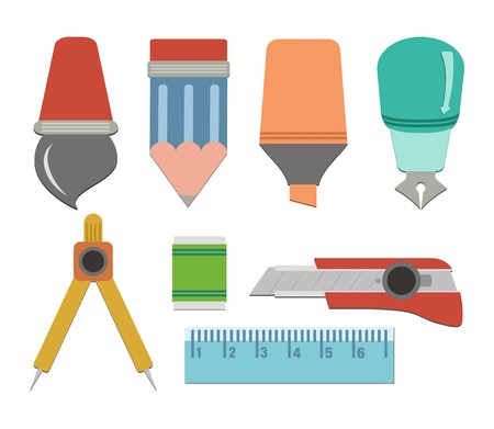 flat stationery - flat user interface Vector