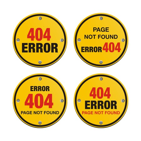 error 404 circle signs Vector