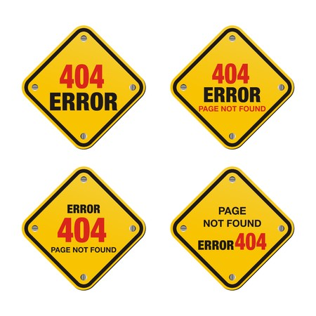 page not found: error 404 yellow signs