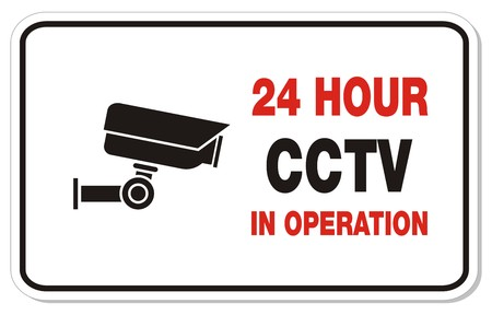 24 hour CCTV in operation - rectangle signs Stock Vector - 22372232