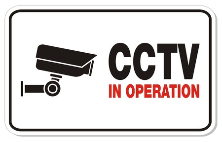 CCTV in operation - rectangle sign Illustration
