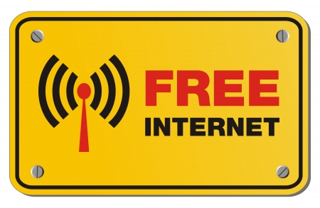 wi fi icon: free internet yellow sign - rectangle sign