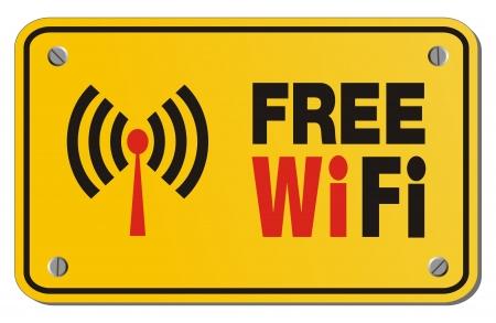 gratis WiFi geel bord - rechthoek teken Stockfoto - 22372236