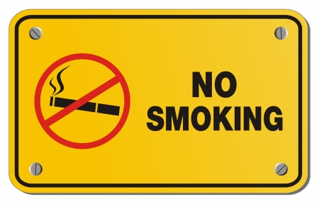 no smoking yellow sign - rectangle sign Vector