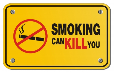 smoking can kill you yellow sign - rectangle sign Vector