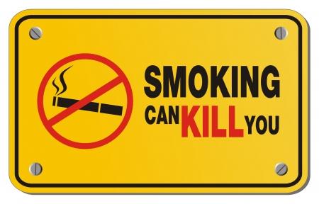 smoking kills: smoking can kill you yellow sign - rectangle sign