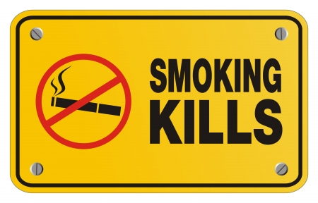 smoking kills yellow sign - rectangle sign Vector