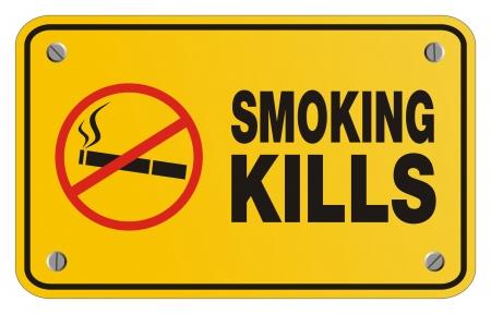 smoking kills: smoking kills yellow sign - rectangle sign Illustration