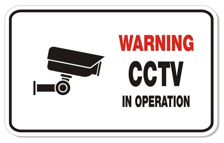 warning cctv in operation - rectangle sign Stock Vector - 22372240