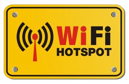 point chaud: WiFi hotspot signe jaune - signe de rectangle