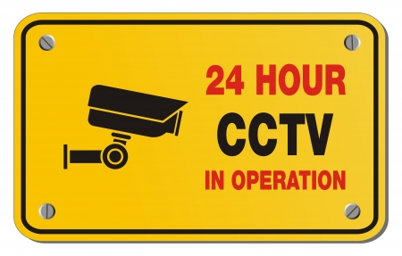 24 hour CCTV in operation yellow sign - rectangle sign Stock Vector - 22390419