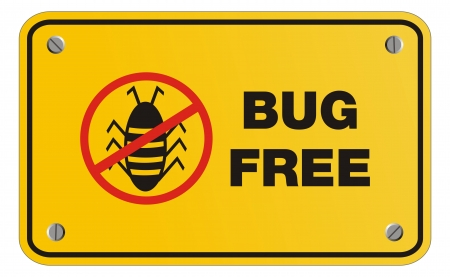 bug free yellow sign - rectangle sign Vector