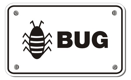bug rectangle sign Vector