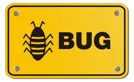 oops: bug yellow sign - rectangle sign Illustration