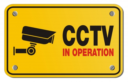 cctv: CCTV in operation yellow sign - rectangle sign Illustration