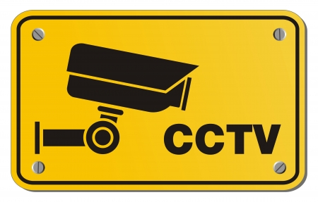 CCTV yellow sign - rectangle sign Stock Vector - 22390422