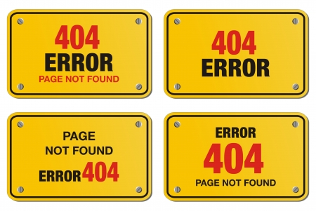 fault: error 404 yellow sign - rectangle sign Illustration