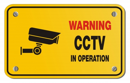 warning cctv in operation yellow sign - rectangle sign Stock Vector - 22390423