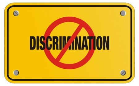 workers rights: anti discrimination yellow sign - rectangle sign