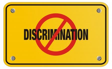 acoso laboral: contra la discriminaci�n cartel amarillo - se�al rectangular
