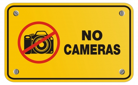cell phones not allowed: no camera yellow sign - rectangle sign