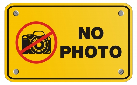 cell phones not allowed: no photo yellow sign - rectangle sign Illustration