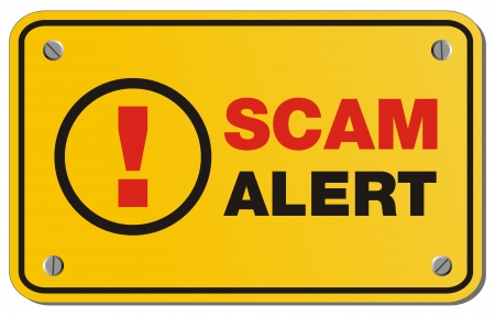 scam: scam alert yellow sign - rectangle sign Illustration