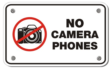 cell phones not allowed: no camera phones rectangle sign