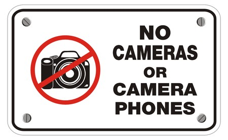 cell phones not allowed: no cameras or camera phones rectangle sign