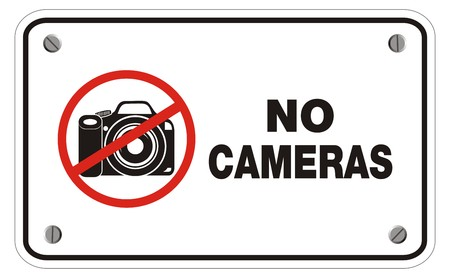 cell phones not allowed: no cameras rectangle sign