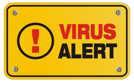 virus alert yellow sign - rectangle sign Stock Vector - 22466394